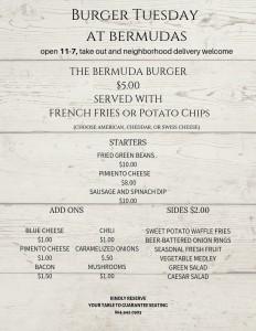 Burger Tuesday at Bermudas REVISED